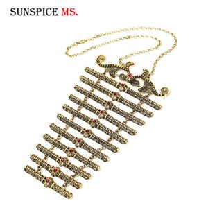 SUNSPICE MS Ethnic Long Pendant Necklace Sets for Women Caucasus Traditional Dress Breastplate Onstage Wedding Jewelry Wholesale F1202