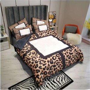 Cuadrícula leopardo impresión ropa de cama de lujo tamaño queen tamaño de moda conjunto de cama 4 conjuntos de tapa de edredón suave conjuntos de sábanas textiles
