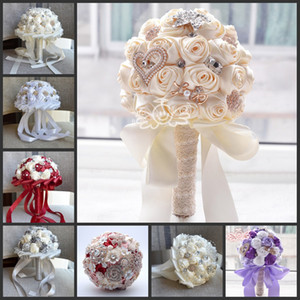 Handmade Rose New Bridal Bouquet Wedding Accessories Brooch Crystal Pearl Wedding Bouquet Holding Flowers