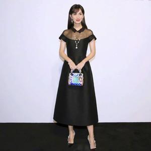2021 Spring Short Sleeve Lapel Neck Milan Runway Dress Designer Dress Brand Same Style Dress 12.14-10