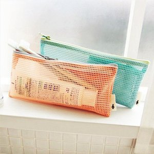 1Pcs Novelty Portable Mesh Women Cosmetic Bag Toothbrush pencil lipstick Makeup Storage Organizer Light Purse Pouch