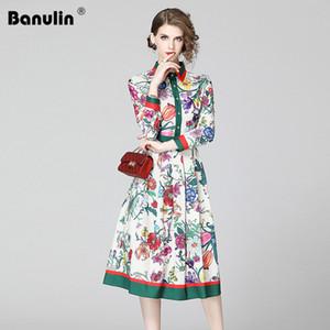 Banulin Spring Summer Fashion Runway Shirt Dress Women's Long Sleeve Casual Floral Stripe Print Pleated Midi Elegant Dress 201204