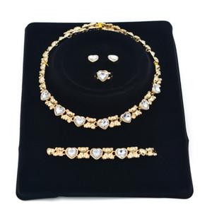 2021 الهدايا الفتيات العلامة التجارية القلائد 14 كيلو الذهب الصداقة سوار إمرأة مجوهرات الزفاف أساور أقراط للنساء مجموعة