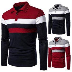 Cuello de manga larga de los hombres Algodón de algodón Cuello de turno de turno Casual Business Slim Fit Polo Shirt Menswear Ropa Hombres más Tamaño