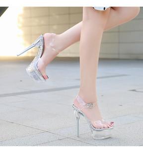 걷는 쇼 스트리퍼 발 뒤꿈치 명확한 신발 여성 플랫폼 하이힐 샌들 여성 섹시한 큰 마당 물고기 입 신발 2020 새로운 크리스탈