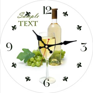 Wine Silent Wall Clock Glasses of Green Grape Wine Served with Grapes French Gourmet Tasting Desk Clock Round Wooden Wall
