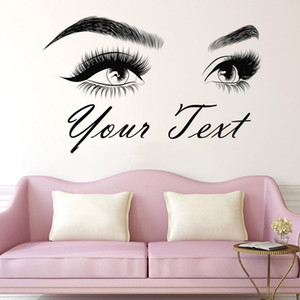 Eyebrows wall sticker Make Up Beauty Salon home decoration Custom text Eyelashes Wall Decal lashes brows Custom Sticker HY05 Y1120
