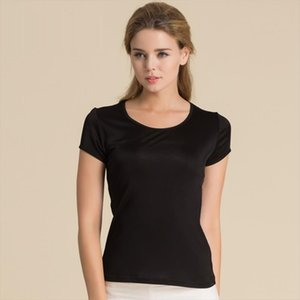 100% Pure Silk Womens T Shirts Femme Tops Tees Shirt Women Casual Solid Candy Color Female Short Sleeve Fashion Ladies Shirts