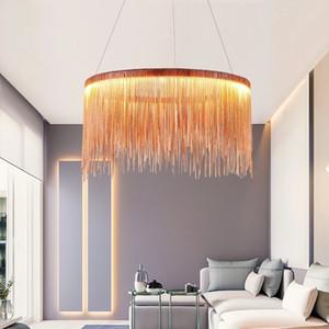 Post Moderno Tassel Creativo Catena di ferro LED Pendente Light Fixture Norbic Breve Home Deco Dining Room Circle Pendant Lamp
