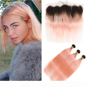 # 1B Rose Gold Ombre Cheveux Humains Brésiliens 3bungles avec fermeture frontale ombre Rose Rose Rose Cheveux Humains Teins avec dentelle Frontale 13x4