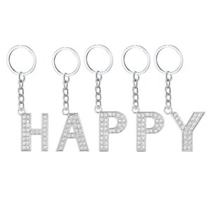 Fashion Bling Bling Crystal Letter Key Ring A-Z Alphabet Keychain Sparkling Keychains Charm Purse Pendant for Handbag Kimter-C381FZ