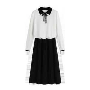 Vestido Duas Peas de Moda Feminina Pequena Fragrncia Vento Idade-Reduzindo Malha Camisola Saia