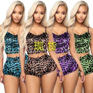 Летние женские спортивный костюм две части пижамы футболки T-рубашки Tain Tops Shorts Leopard Print Sexy без рукавов трексуиты клуб носить девушки одежда H2510