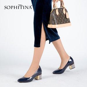 Sophitina Marke Schuhe Dicke Ferse Damen Pumps Patent Leder spitz Zehe Bunte Square Heels Party Handgemachte Schuhe Frauen D13 C1120