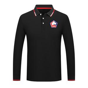 Lille LOSC Unisex Premium Golf Series POLO Lapel Long Sleeve Collar Street Shirt Trendy Pure Color Premium Shirt Comfortable POLO
