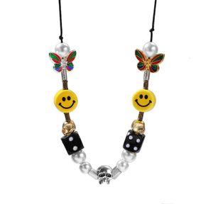 Skull Gold Rhinestone Pendant Necklace Color Pearl Necklace Beads Arrived New sqcfw footballshoe