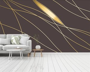 Luxury 3d Wallpaper Modern Style Abstract Lines Golden Nordic Decoration HD Digital Printing Moisture-proof 3d Wallpaper