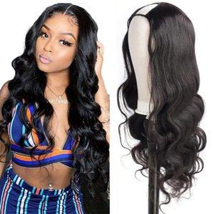 Indian U Part Körperwelle Perücken Natürliche Farbe Human Hair 2x4inch Perücken 150 Dichte Remy Spitze Front Menschliche Haarperücken für schwarze Frauen