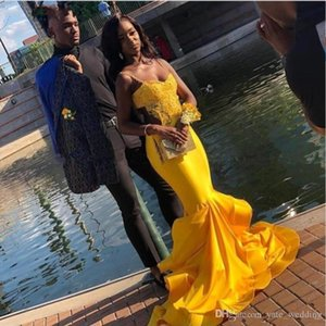 Black Girls Prom Dresses Long 2021 Newly Spaghetti Straps Sweetheart Yellow Jersey Prom Gowns Ruffles Skirt Appliques
