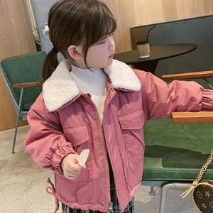 Girls' Coat Fur Neckline Clip Cotton Thickened Coat 20 Autumn and Winter Clothing New Foreign Trade Children's Wear Generat