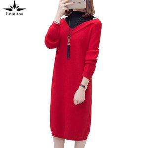 Leiouna artı boyutu 4xl bayan sonbahar kış örme orta uzunlukta dibe kazak ince sahte iki dikiş elbise