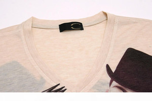 w1209 M - 3XL rock doll 2015 summer vintage short sleeve v neck 3d print t shirt men brand cotton mens t shirts camisetas