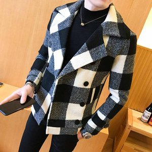 Mens Coat 2020 new double-breasted windbreaker fashion retro tartan coat large slim short men's banquet party dress