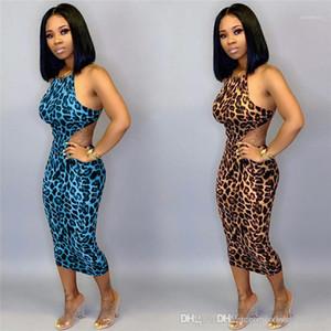 Sexy Slim Sleeveless Sling Offene Bodycon-Kleider Mode Womens Partykleider Leopard Gedruckt Frauen Kleider Nachtclub