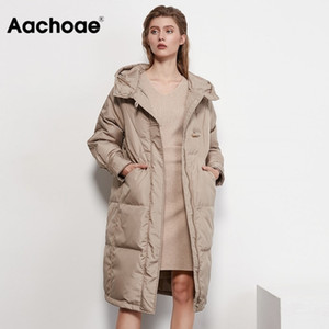 Aachoae Autumn Winter Long White Duck Down Coat Women Long Sleeve Loose Casual Hooded Puffer Jacket Outerwear Femme Veste