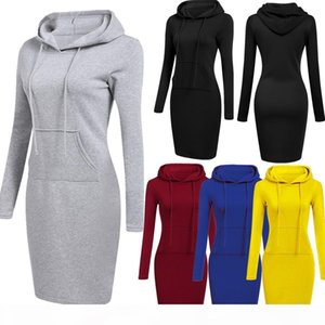 Factory custom 5 Colour Women Knee Length Casual Hooded Pencil Hoodie Long Sleeve Sweater Pocket Bodycon Tunic Dress Top S-2XL