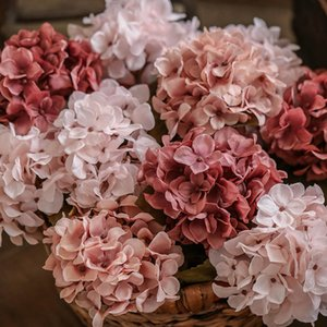 silk hydrangea artificial flowers wedding home decoration big fake flowers hydrangea DIY decor for hotel party wreath supplies