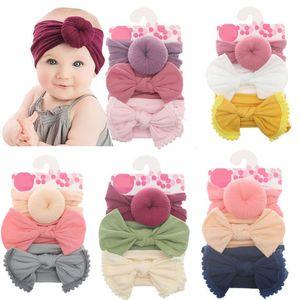 Baby Headband Soft Nylon Ball Donut Turban Topknot Hairband 3pcs Sets Elastic Hair Bands Fashion Hair Accessories 10 Styles DW6233