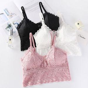 1PCS Women Fashion Wireless Bra Padded Bralette Deep V Lace Bras Summer Crop Top Embroidery Floral Tank Top