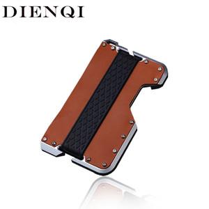 Dienqi Novo Titular de Cartão de Couro Genuíno Homens Alumínio Metal RFID Bloqueio de Cartão de Crédito Suporte Minimalista Minimalista LJ200907