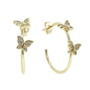 Hot sale cz paved mini butterfly hoop earring Jewelry Zircon Earrings Smart Butterfly Earrings for women gift