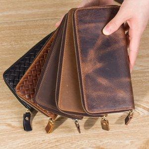 Neweekend Crazy Horse Carteiras Vintage Wallet Genuine para Couro Homens Cowboy Top Preto Brown 8875