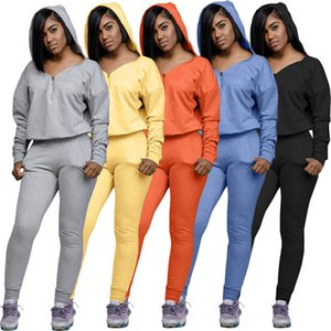 Women jogging suit solid color 2 piece set 2XL hoodies pants fall winter clothing sweatsuit fashion long sleeve pullover capris C1701