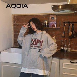 Aqoia Herbst Harajuku Brief Drucken Lose Frauen Hoodies Dünne Sweatshirt Fake Zwei Teile Koreanisches Stil Oversize Sweatshirt 201203