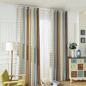 Mediterranean Chenille Jacquard Yarn-Dyed Striped Shade Curtains forLiving Room Bedroom Study blackout curtains1