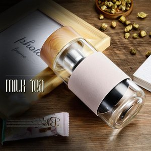 350ml 12oz Glass Water Bottles Heat Resistant Round Office Cup Stainless Steel Infuser Strainer Tea Mug Car Tumblers sea shipping ZZC2963
