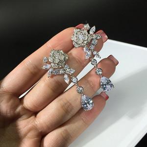 Mode Romantische Kristall Kamelien Blume Ohrring Elegante Edelstein Strass Drop baumeln Ohrring Exquisite CZ Diamant Geometrische Ohrring Silber925