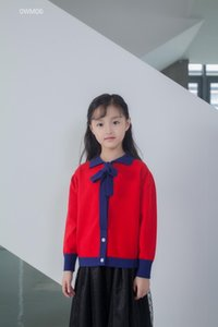 New Autumn Kids Girls Sweaters Baby Girl Toddler Bow Colored Knitted Cardigan Coat Kids Children Outwear For Girls Red
