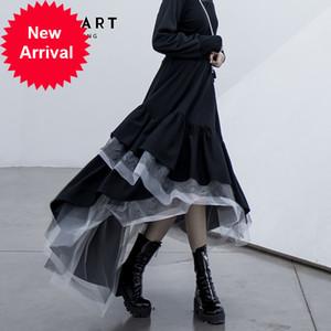 CheerArt Mesh Asimetrik Kadınlar Siyah Katmanlı Elastik Yüksek Bel Uzun Ekose Tasarımcı Moda Etek 2020