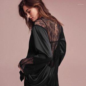 Hiloc preto retalhos laço pijama pijama cetim casa robe mulheres manga longa noiva veste feminino outono sexy nightwear inverno
