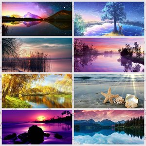 5D DIY Diamond Painting Bridge Scenery Landscape Kits Lake with Round Drill Tree Cross Stitch Mosaic Art Decoration Home