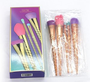 Tarte Makeup Tools Brush Set Pincéis de ouro Coloful Makeup Brush Pó BB Creme Blush 5pcs / set