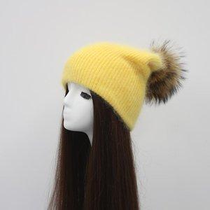 Haute Qualité Angora Chapeau Femmes Raccoon Fourrure Pompon Hat Girls Cachemire Bonnet