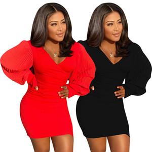 2020 autumn women dresses long sleeve waist closing slim bag hip skirt nightclub sexy low cut open chest dress