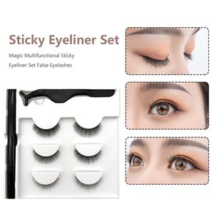 Three Pairs Of 3D Magnetic Eyeliner Liquid False Eyelashes Set Magnet Eyelashes Waterproof Natural Long False