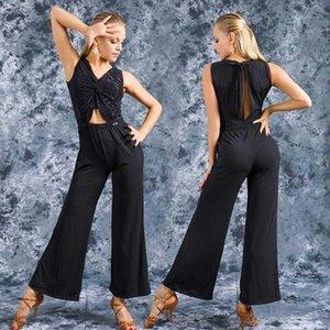 Black Latin Dance Kostüm für Frauen Latina Dance Jumosuit Salsa Praxis Kleidung Outfits Ballroom Trainingskleidung JL10571